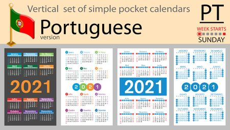 Portuguese vertical set of pocket calendars for 2021 (two thousand twenty one). Week starts Sunday. New year. Color simple design. Vector