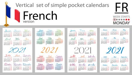 French vertical set of pocket calendars for 2021 (two thousand twenty one). Week starts Monday. New year. Color simple design. Vector