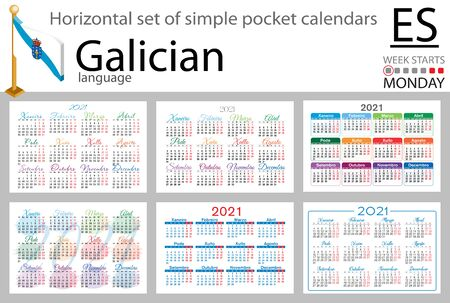 Galician horizontal set of pocket calendars for 2021 (two thousand twenty one). Week starts Monday. New year. Color simple design. Vector
