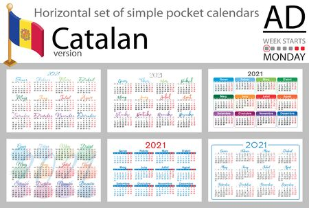 Catalan horizontal set of pocket calendars for 2021 (two thousand twenty one). Week starts Monday. New year. Color simple design. Vector 일러스트