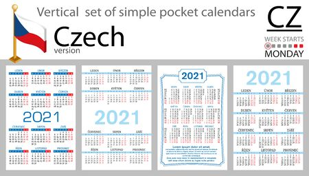 Czech vertical set of pocket calendars for 2021 (two thousand twenty one). Week starts Monday. New year. Color simple design. Vector