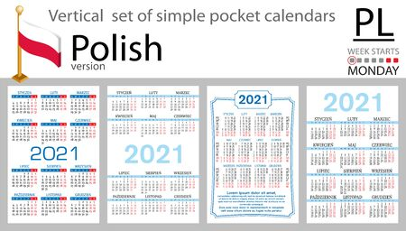 Polish vertical set of pocket calendars for 2021 (two thousand twenty one). Week starts Monday. New year. Color simple design. Vector