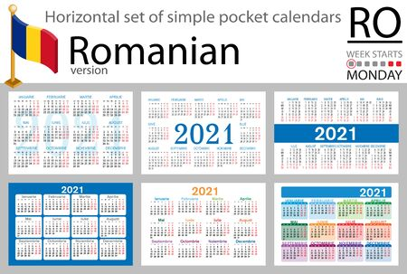Romanian horizontal set of pocket calendars for 2021 (two thousand twenty one). Week starts Monday. New year. Color simple design. Vector