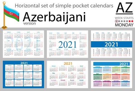 Azerbaijani horizontal set of pocket calendars for 2021 (two thousand twenty one). Week starts Monday. New year. Color simple design. Vector