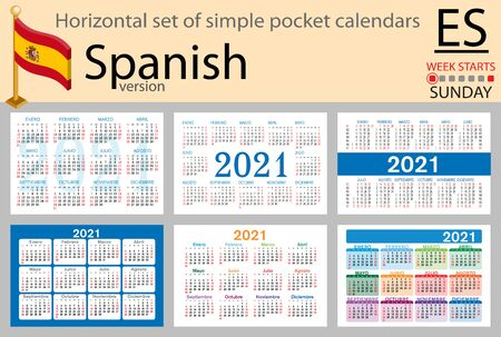 Spanish horizontal set of pocket calendars for 2021 (two thousand twenty one). Week starts Sunday. New year. Color simple design. Vector