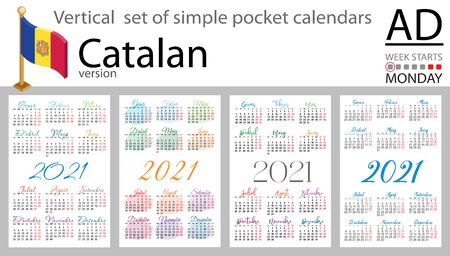 Catalan vertical set of pocket calendars for 2021 (two thousand twenty one). Week starts Monday. New year. Color simple design. Vector