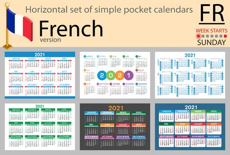French horizontal set of pocket calendars for 2021 (two thousand twenty one). Week starts Sunday. New year. Color simple design. Vector Иллюстрация