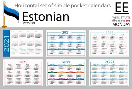 Estonian horizontal set of pocket calendars for 2021 (two thousand twenty one). Week starts Monday. New year. Color simple design. Vector Иллюстрация