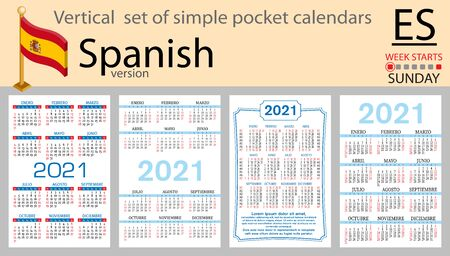 Spanish vertical set of pocket calendars for 2021 (two thousand twenty one). Week starts Sunday. New year. Color simple design. Vector