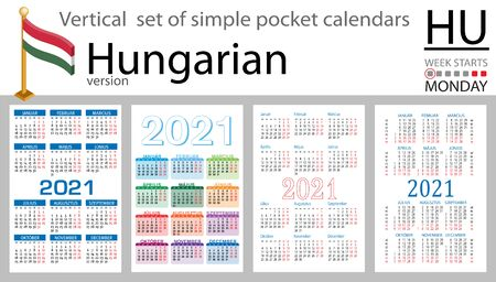 Hungarian vertical set of pocket calendars for 2021 (two thousand twenty one). Week starts Monday. New year. Color simple design. Vector