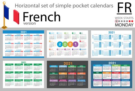 French horizontal set of pocket calendars for 2021 (two thousand twenty one). Week starts Monday. New year. Color simple design. Vector Иллюстрация