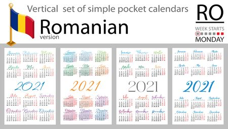Romanian vertical set of pocket calendars for 2021 (two thousand twenty one). Week starts Monday. New year. Color simple design. Vector