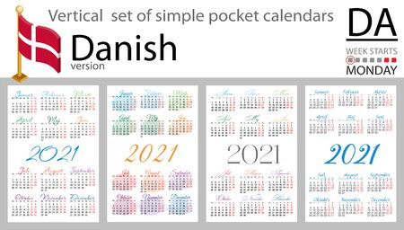 Denmark vertical set of pocket calendars for 2021 (two thousand twenty one). Week starts Monday. New year. Color simple design. Vector