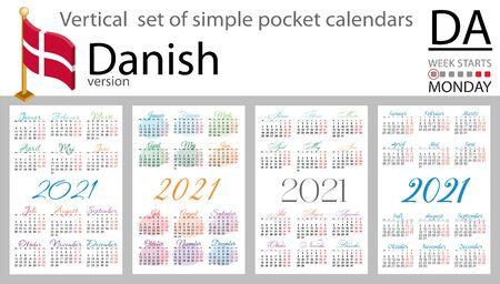 Denmark vertical set of pocket calendars for 2021 (two thousand twenty one). Week starts Monday. New year. Color simple design. Vector Иллюстрация