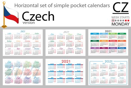 Czech horizontal set of pocket calendars for 2021 (two thousand twenty one). Week starts Monday. New year. Color simple design. Vector