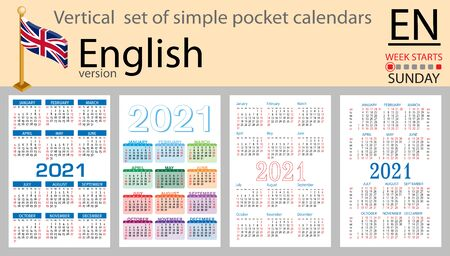 English vertical set of pocket calendars for 2021 (two thousand twenty one). Week starts Sunday. New year. Color simple design. Vector Иллюстрация