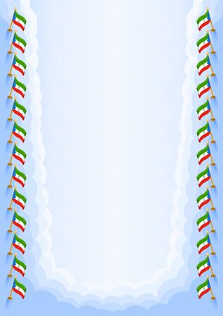 Vertical frame and border with Equatorial Guinea flag, template elements for your certificate and diploma. Vector.