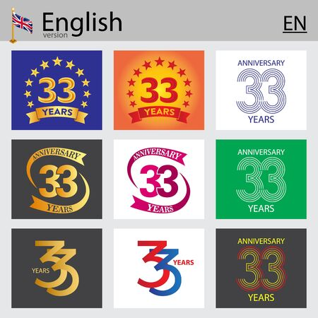 Set of number thirty-three years (33 years) celebration design. Anniversary vector number template elements for your birthday party