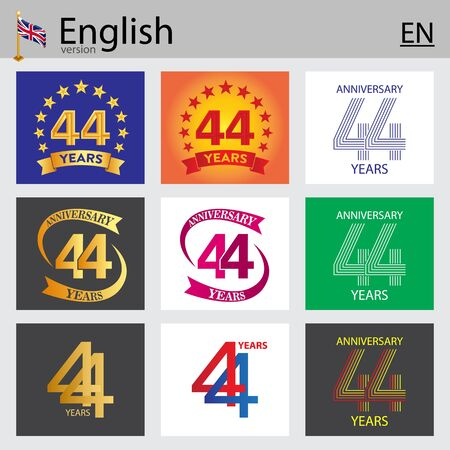 Set of number forty-four years (44 years) celebration design. Anniversary vector number template elements for your birthday party