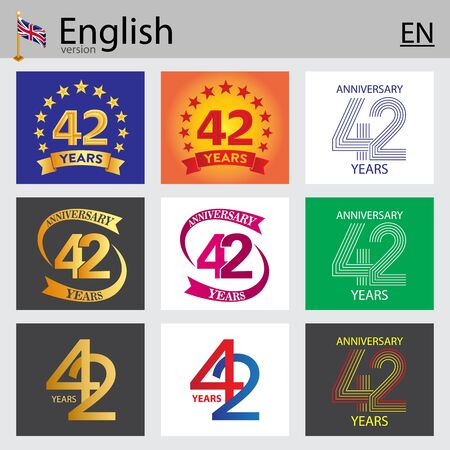 Set of number forty-two years (42 years) celebration design. Anniversary vector number template elements for your birthday party