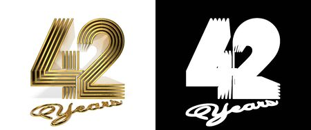 Number 42 (number forty-two) anniversary celebration design with five parallel lines on a white background with shadow and alpha channel. 3D illustration
