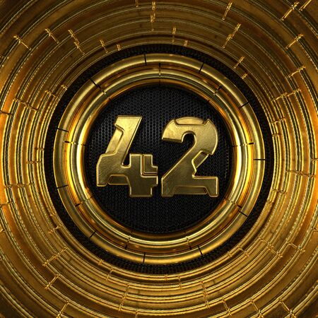 Gold number 42 (number forty-two) with perforated black metal background and gold rings around. 3D illustration