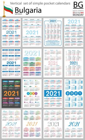Bulgarian vertical set of pocket calendars for 2021 (two thousand twenty one). Week starts Monday. New year. Color simple design. Vector