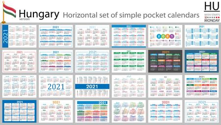 Hungarian horizontal set of pocket calendars for 2021 (two thousand twenty one). Week starts Monday. New year. Color simple design. Vector