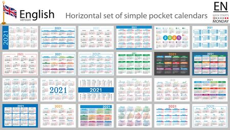 English horizontal set of pocket calendars for 2021 (two thousand twenty one). Week starts Monday. New year. Color simple design. Vector