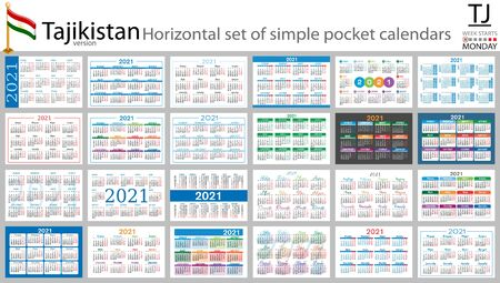 Tajik horizontal set of pocket calendars for 2021 (two thousand twenty one). Week starts Monday. New year. Color simple design. Vector