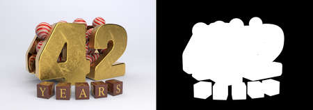 Number 42 (number forty-two) anniversary celebration design with round candies and the inscription years from cubes on a white background with shadow and alpha channel. 3D illustration