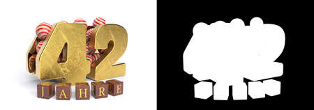 Inscription in German 42 years, consisting of a gold number forty-two and round candies filling the number 42 on a white background with shadow and alpha channel. 3D illustration