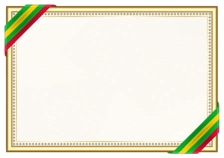 Horizontal frame and border with Sao Tome and Principe flag, template elements for your certificate and diploma. Vector. Ilustração Vetorial
