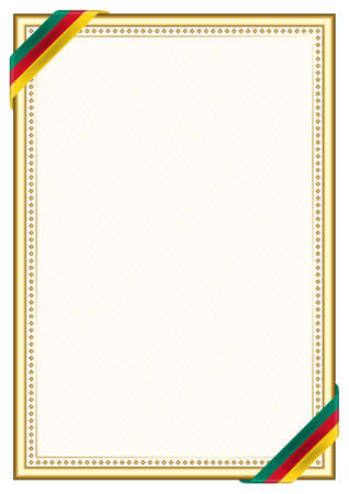 Vertical frame and border with Cameroon flag, template elements for your certificate and diploma. Vector.