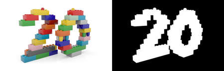 Colorful toy plastic number twenty (number 20) from building bricks with alpha channel and shadow on white background. 3D illustration