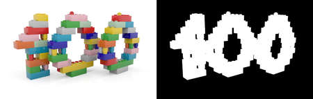 Colorful toy plastic number one hundred (number 100) from building bricks with alpha channel and shadow on white background. 3D illustration Stock Photo