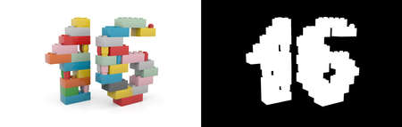 Colorful toy plastic number sixteen (number 16) from building bricks with alpha channel and shadow on white background. 3D illustration