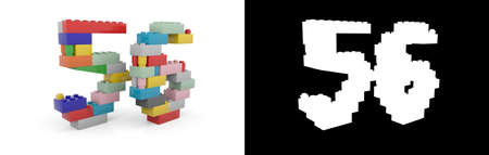 Colorful toy plastic number fifty-six (number 56) from building bricks with alpha channel and shadow on white background. 3D illustration