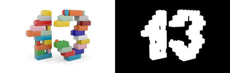 Colorful toy plastic number thirteen (number 13) from building bricks with alpha channel and shadow on white background. 3D illustration