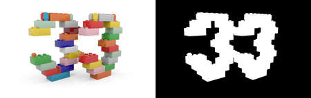 Colorful toy plastic number thirty-three (number 33) from building bricks with alpha channel and shadow on white background. 3D illustration
