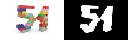 Colorful toy plastic number fifty-one (number 51) from building bricks with alpha channel and shadow on white background. 3D illustration