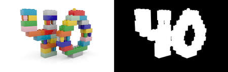 Colorful toy plastic number forty (number 40) from building bricks with alpha channel and shadow on white background. 3D illustration