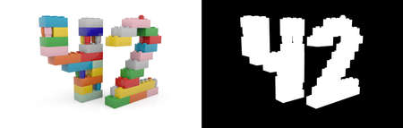 Colorful toy plastic number forty-two (number 42) from building bricks with alpha channel and shadow on white background. 3D illustration