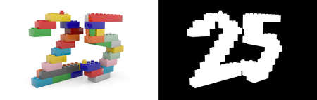 Colorful toy plastic number twenty-five (number 25) from building bricks with alpha channel and shadow on white background. 3D illustration