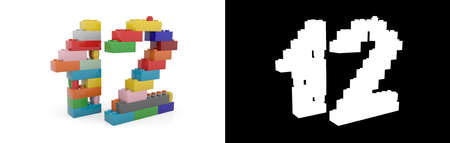 Colorful toy plastic number twelve (number 12) from building bricks with alpha channel and shadow on white background. 3D illustration