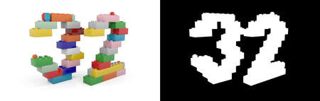 Colorful toy plastic number thirty-two (number 32) from building bricks with alpha channel and shadow on white background. 3D illustration
