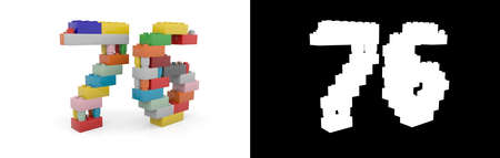 Colorful toy plastic number seventy-six (number 76) from building bricks with alpha channel and shadow on white background. 3D illustration