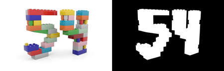 Colorful toy plastic number fifty-four (number 54) from building bricks with alpha channel and shadow on white background. 3D illustration