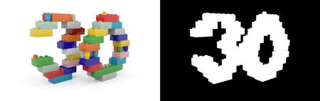 Colorful toy plastic number thirty (number 30) from building bricks with alpha channel and shadow on white background. 3D illustration