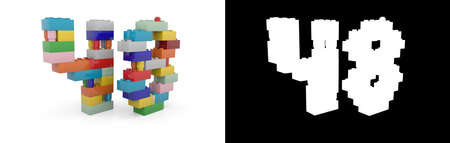 Colorful toy plastic number forty-eight (number 48) from building bricks with alpha channel and shadow on white background. 3D illustration